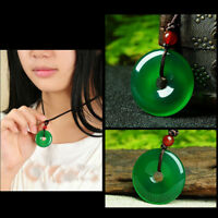 Unisex Lucky Chinese Natural Jade Hand-Carved Buckle Pendant Necklace Nice Gift