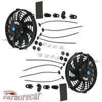 "2 x 9"" inch Electric Radiator Cooling Mount Kit Slim Fan Universal 12V Push Pull"