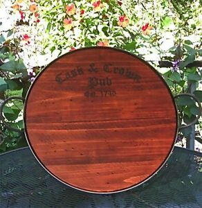 """Pub Serving Tray 27"""" Cask and Crown Reclaimed Wood Pine Finish"""