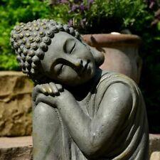 Garten Buddha in klasse Messingoptik aus Stein 44cm Statue Figur Skulptur Deko