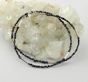 Rohdiamant Cadena de Piedra Preciosa Negro Natural de Diamante Collar 925 Plata