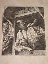 d'ap Adriaen van OSTADE 1610-1685 Gravure XVII PAYSAN TROMPE Ec HOLLANDAISE 1650
