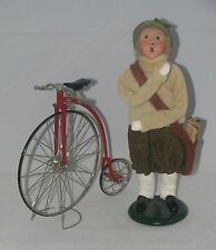 Byers' Choice Carolers NEWSBOY WITH BIKE (1989) Specialty Characters  9""