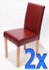 2x chaise de séjour Littau, cuir rouge, pieds clairs