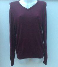 NEW *Uniqlo* Ladies/Women's Purple Plum 100% Woolen Long Sleeve V Neck Jumper XL