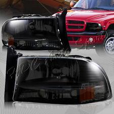 For 1997-2004 Dodge Dakota/Durango 1-Piece Smoke Housing Headlights+Bumper Lamps