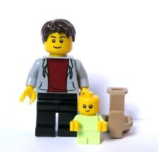 LEGO Father Dad Minifigure & Yellowish Green Baby With Carrier Holder
