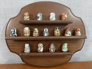 Franklin MInt FRIENDS OF THE FOREST animal thimbles and wood display rack