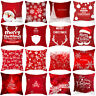 Red Christmas Pillow Case Santa Elk Sofa Car Throw Cushion Cover Xmas Home Decor