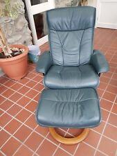 Stressless Ekornes Dark Green  leather Chair and Footstool.