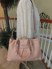 Coach Ashley Light Pink Leather Carryall Shoulder Handbag Satchel Tote F15513