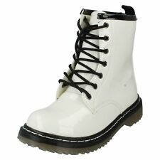 Girls Spot on White Patent PU Lace Up/zip up Ankle Boot H5011 UK Infant 11