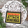 DECO Mini Sign PROTECTED BY HEDGEHOGS Wire Hanger Wood Sign Ornament Caution NEW