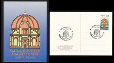 ITALIA 1990 CARTOLINA  PRIMO GIORNO SAGRA MUSICALE MALATESTIANA 1950 FDC RIMINI