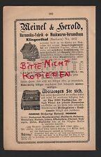 KLINGENTHAL, publicité 1906, MEINEL & HEROLD Harmonica... - Usine Musique étaient-versandha