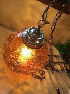 Vintage Amber Glass Swag Hanging Globe Lamp Light Roses