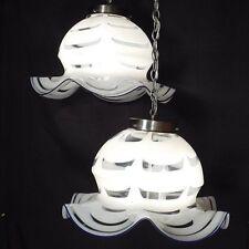 HUGE Pair Murano Blown Glass Mazzega Pendant Lamps Chandelier Vistosi era 1970s