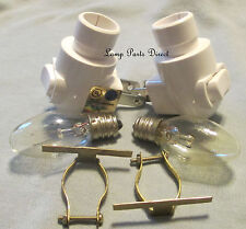 (Lot of 2) Night Lights - White  - on/off - Includes 4w Bulb & Brass Clip