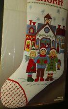 Bernat CAROLLING CHRISTMAS Stocking Cross Stitch KIT W00118 1987 Metallic Gold!