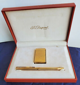 Dupont, Paris  Cigarette Lighter, Pen set in Original Leather Box, Gold color