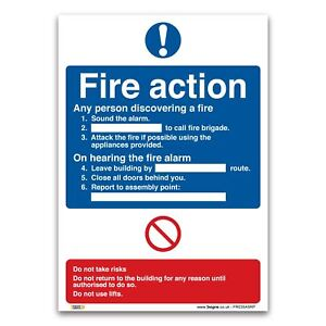 Fire Action Plan Sign - 1mm Rigid Plastic Sign - Fire Action Safety