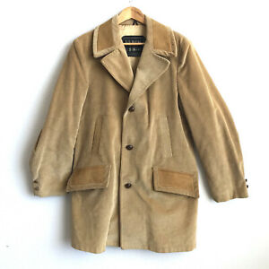 Vintage SEARS The Country Coat Corduroy Car Coat Plaid Wool Lined Mens 40 Tall