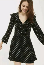 Topshop Black And White Long Sleeve Spot Polka Dot Tea Dress Size 8