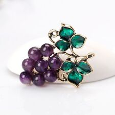 Scarf Clip Pin Bridal Fruit Grape Brooch Pins Corsage Enamel Purple Rhinestone