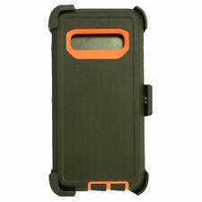 For Samsung Galaxy S10 Defender Case Cover (Belt Clip Fits OtterBox)Black Orange
