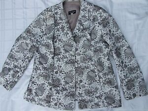 JANE WIMMERS JACKET SIZE L 14 EC VINTAGE FAB FABRIC MOTHER OF PEARL BUTTONS