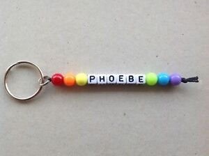 Personalised Rainbow Colour Name Keyring, Party Bag Fillers Favours, School Bag