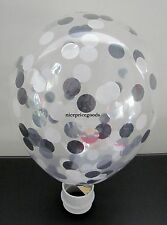 1 CLEAR 12INCH/30CM BLACK/SILVER/WHITE CONFETTI BALLOON. BABY EVENTS WEDDINGS