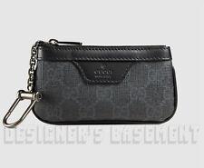 GUCCI gray GG SUPREME Canvas black leather POUCH Case clip-on wallet NIB Authent