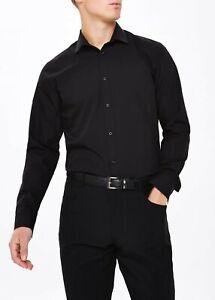 Ex Store Black Dress Shirt Men Formel Casual Mens Dress Shirt Sizes XS-2XL