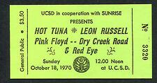 Original 1970 Pink Floyd Full Unused Concert Ticket Atom Heart Mother San Diego