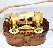 VINTAGE BINACULAR ANTIQUE BINACULAR SPYGLASS BINACULAR WITH LEATHER BOX GIFT