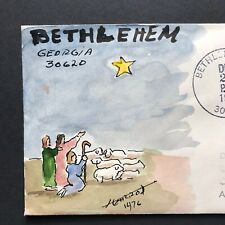 BETHLEHEM GEORGIA Cover 1976 FOLK ART Pen & Ink Watercolor Cachet by DR HARROD
