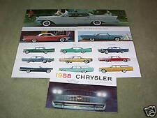 1958 CHRYSLER WINDSOR, NEW YORKER, SARATOGA BROCHURE / 58 SALES CATALOG / POSTER