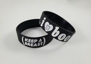 I Love Boobies Bracelet Black Breast Cancer Awareness I Heart Boobies Wrist Band