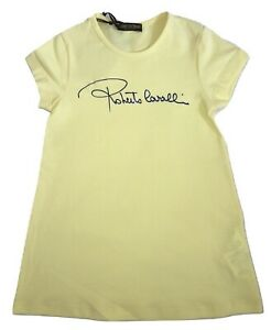 ROBERTO CAVALLI Girls Yellow Dress With Front Logo 2 Years BNWT - RRP £97