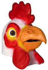 Deluxe Rubber Chicken Mask Rooster Full Head Latex Animal Costume Bird Mascot