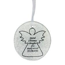 Silver Glittery Glass Memorial Angel Christmas Tree Hanger - Husband