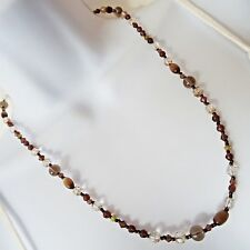 """M&S Clear & Brown Glass Crystal Faceted Bead Necklace 53.5 cm / 21 """" ~ UK [1568]"""