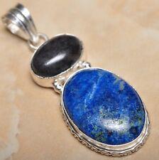 "Sterling Silver 2.25"" Pendant #P11665 Handmade Pyrite Lapis Lazuli Jasper 925"