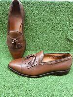 Allen Edmonds Size 8 1/2 D Brown Pebbled Leather Cap Toe Tassel Loafer Kiltie