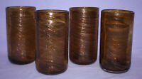 4 Vintage Hand Blown Murano Italian Art Glass Tumblers ~ Brown w/ Copper Swirl