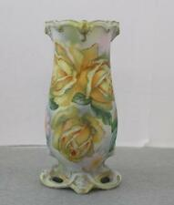 Antique Tapestry Porcelain Hatpin Holder Yellow Roses Repaired Base As Is