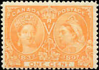 1897 Mint NH Canada F-VF Scott #51 1c Diamond Jubilee Issue Stamp