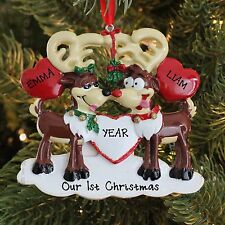REINDEER COUPLE LOVE HUG KISSES OUR FIRST CHRISTMAS PERSONALIZED TREE ORNAMENT