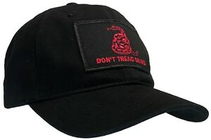 Don't Tread On Me 'Dad' Cap 100% Unstructured Cotton Hat Black with Red Text